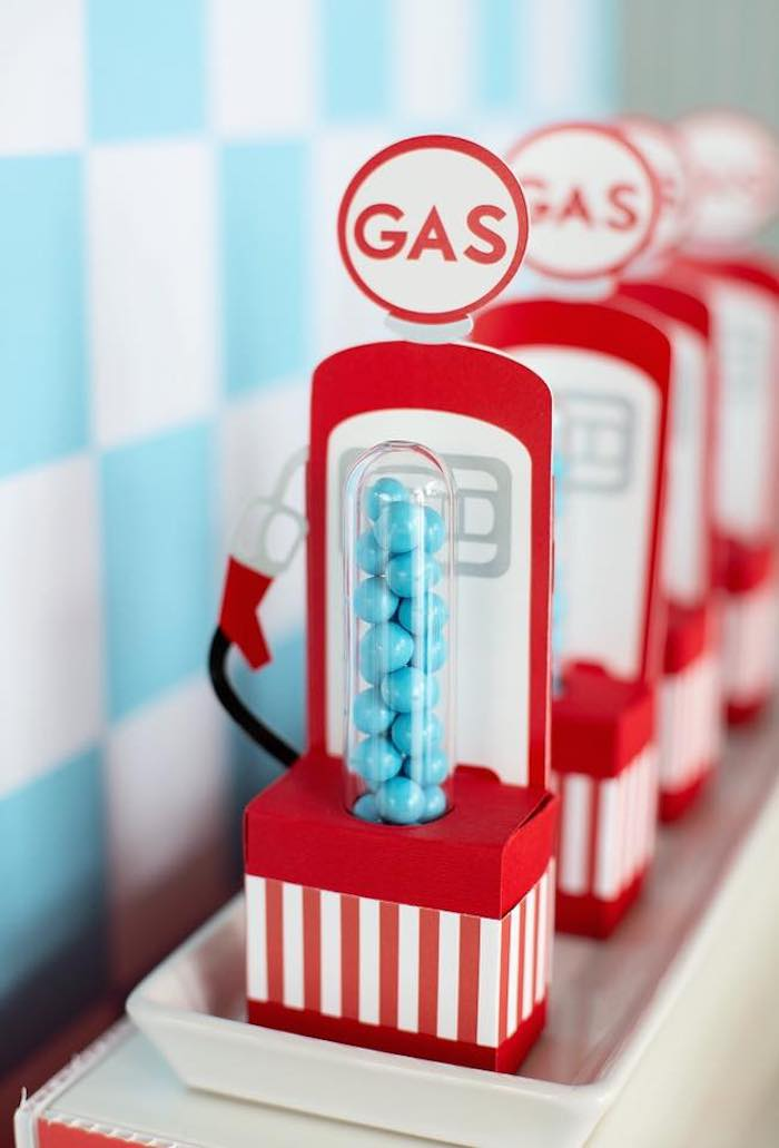 Vintage Gas Pump Candy Tube Favors from a Vintage Grand Prix Birthday Party on Kara's Party Ideas | KarasPartyIdeas.com (17)