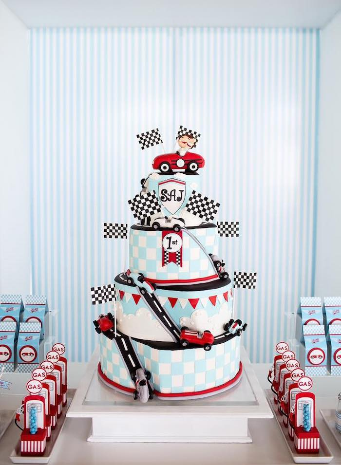 Car Themed Birthday Cake from a Vintage Grand Prix Birthday Party on Kara's Party Ideas | KarasPartyIdeas.com (15)