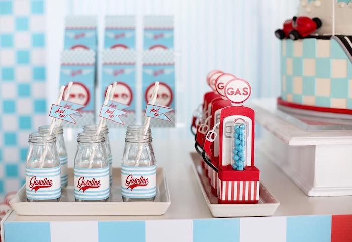 Drink Bottles + Vintage Gas Pump Candy Favor Tubes from a Vintage Grand Prix Birthday Party on Kara's Party Ideas | KarasPartyIdeas.com (11)