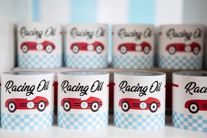 Racing Oil Favor Cans from a Vintage Grand Prix Birthday Party on Kara's Party Ideas | KarasPartyIdeas.com (10)