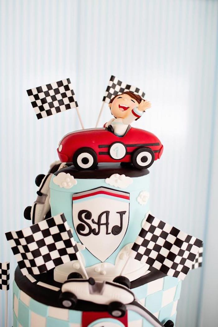Vintage Car Birthday Cake from a Vintage Grand Prix Birthday Party on Kara's Party Ideas | KarasPartyIdeas.com (9)