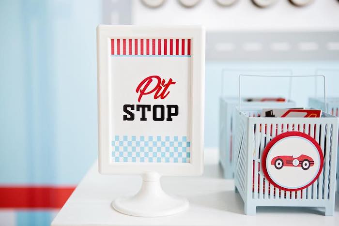 Pit Stop Sign + Print from a Vintage Grand Prix Birthday Party on Kara's Party Ideas | KarasPartyIdeas.com (25)