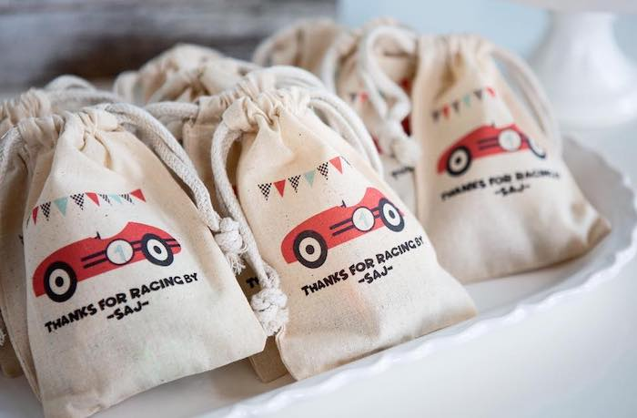 Custom Vintage Car Drawstring Favor Sacks from a Vintage Grand Prix Birthday Party on Kara's Party Ideas | KarasPartyIdeas.com (19)