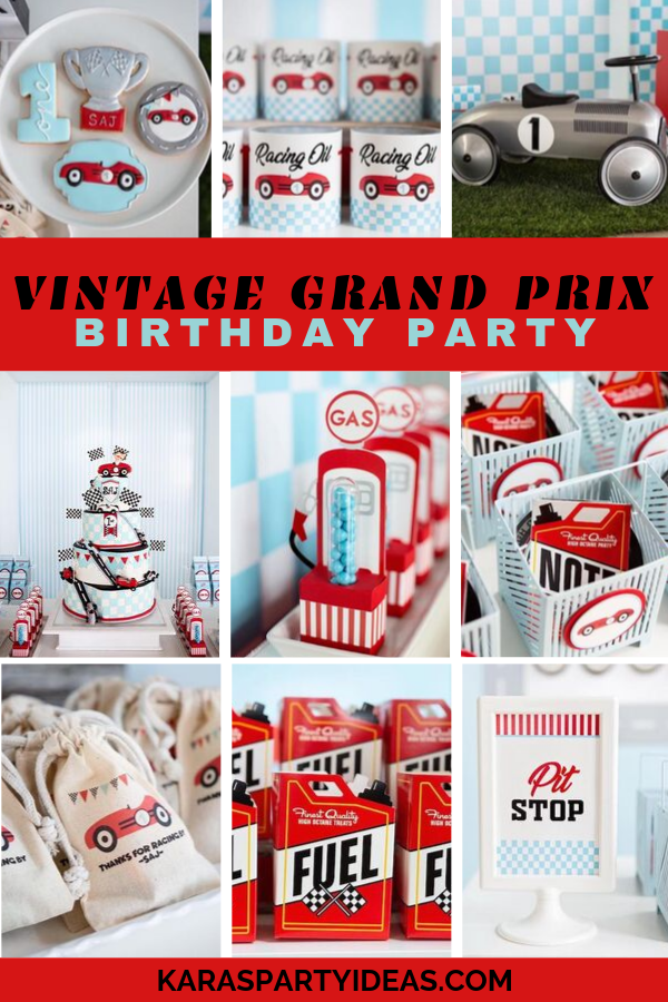 Vintage Grand Prix Birthday Party via Kara's Party Ideas - KarasPartyIdeas.com