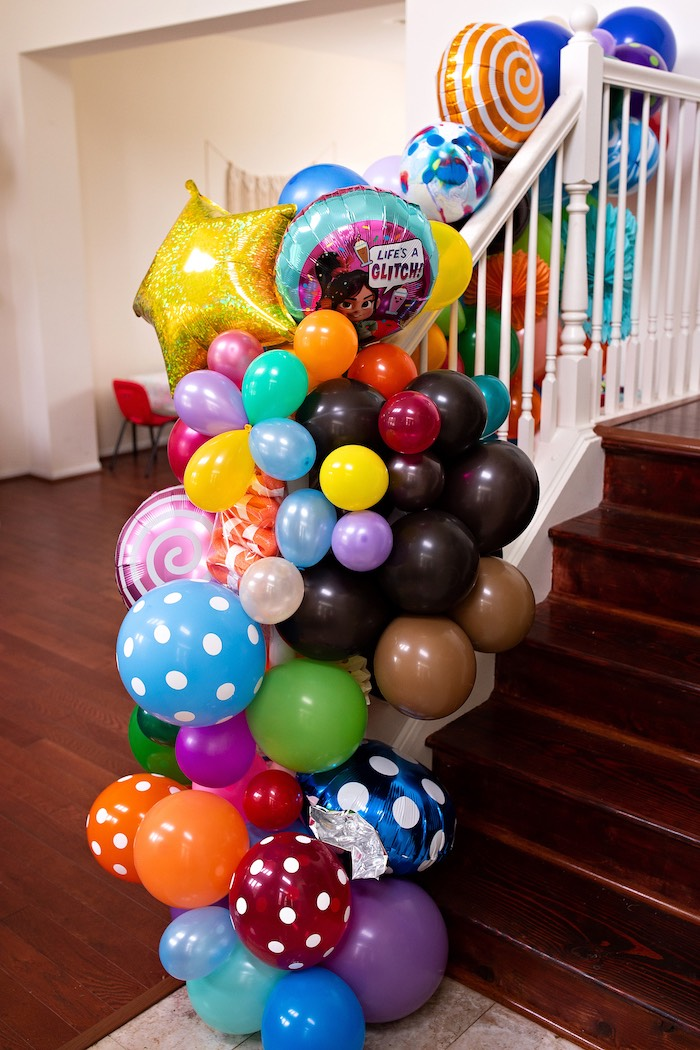 Sugar Rush Game-inspired Balloon Installation from a Wreck-it-Ralph Birthday Party on Kara's Party Ideas | KarasPartyIdeas.com (24)
