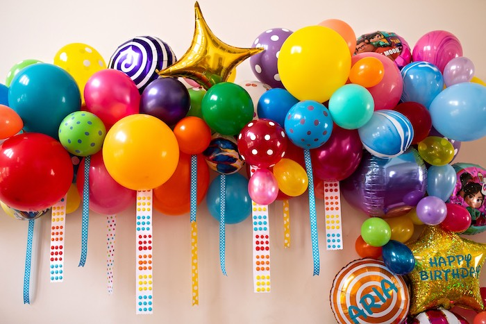 Candy Themed Balloon Garland from a Wreck-it-Ralph Birthday Party on Kara's Party Ideas | KarasPartyIdeas.com (19)
