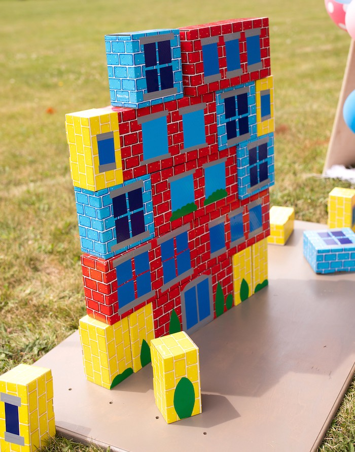 Brick Tower from a Wreck-it-Ralph Birthday Party on Kara's Party Ideas | KarasPartyIdeas.com (11)