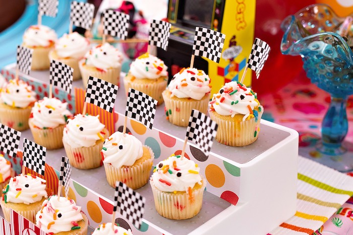 Cupcakes with Racer Flags from a Wreck-it-Ralph Birthday Party on Kara's Party Ideas | KarasPartyIdeas.com (37)