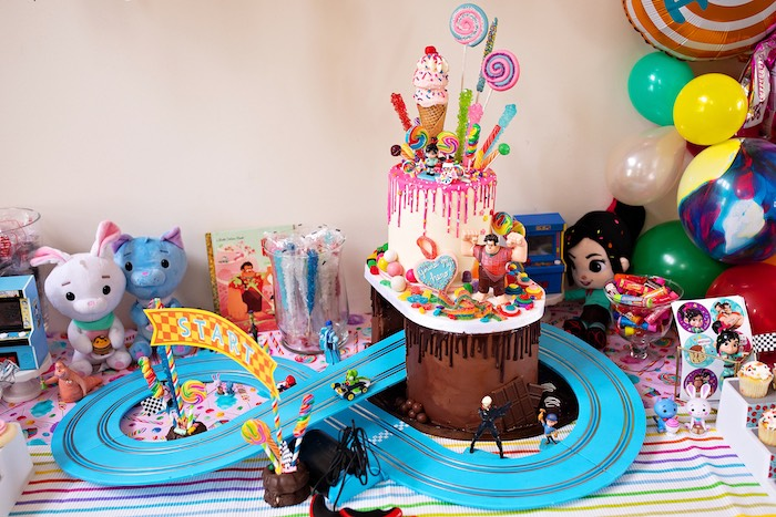 Wreck-it-Ralph/Sugar Rush Candy Cake from a Wreck-it-Ralph Birthday Party on Kara's Party Ideas | KarasPartyIdeas.com (31)