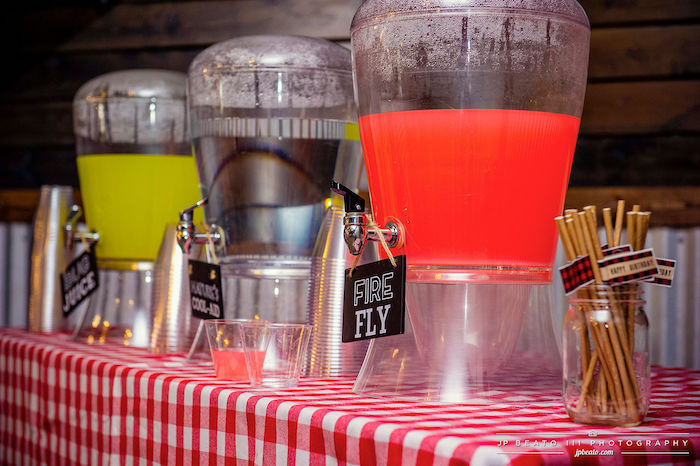 Beverage Bar from a Camping Birthday Party on Kara's Party Ideas | KarasPartyIdeas.com (13)