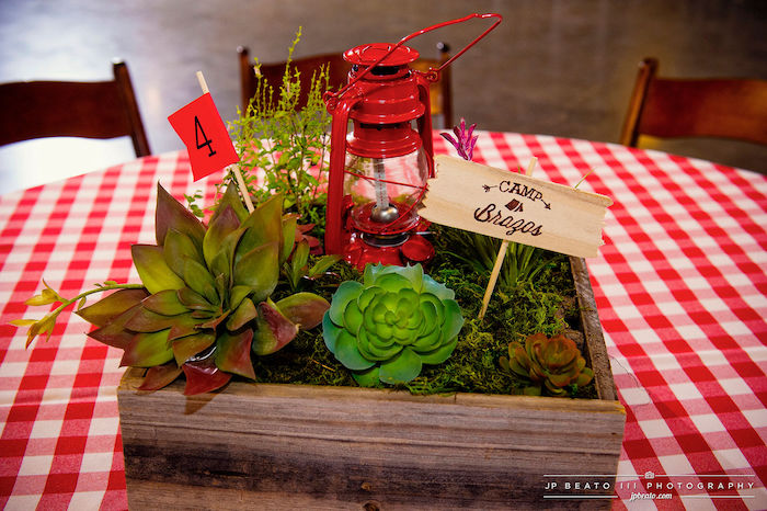 Camping Themed Succulent Box + Centerpiece from a Camping Birthday Party on Kara's Party Ideas | KarasPartyIdeas.com (11)