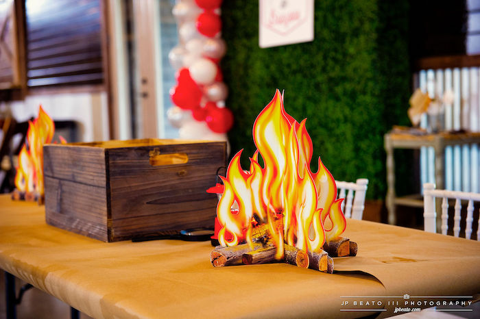 Faux Camp Fire from a Camping Birthday Party on Kara's Party Ideas | KarasPartyIdeas.com (9)