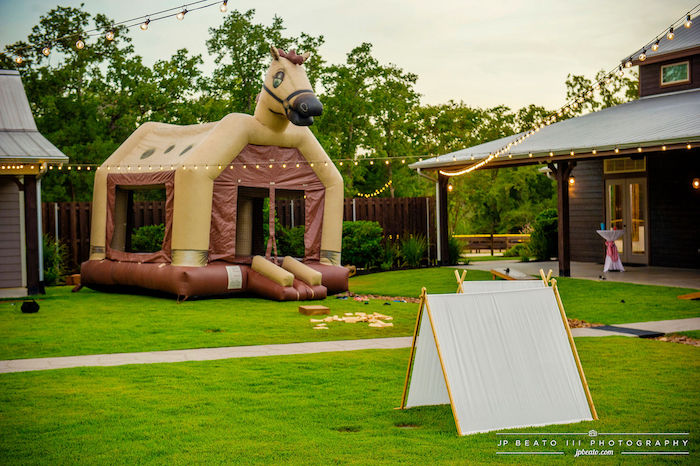 Tent + Bounce House from a Camping Birthday Party on Kara's Party Ideas | KarasPartyIdeas.com (8)
