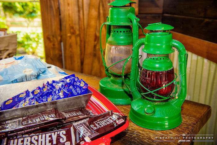 Green Lanterns + S'more Bar from a Camping Birthday Party on Kara's Party Ideas | KarasPartyIdeas.com (18)