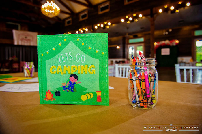 Camping Sign + Coloring Table from a Camping Birthday Party on Kara's Party Ideas | KarasPartyIdeas.com (17)