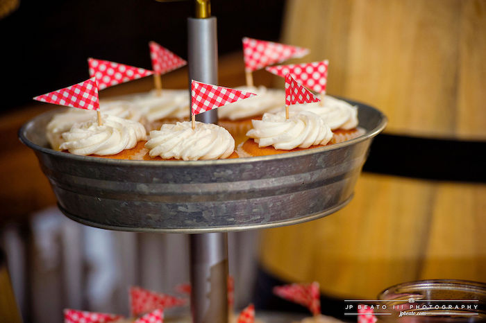 Cupcakes with Red Checkered Flags from a Camping Birthday Party on Kara's Party Ideas | KarasPartyIdeas.com (16)