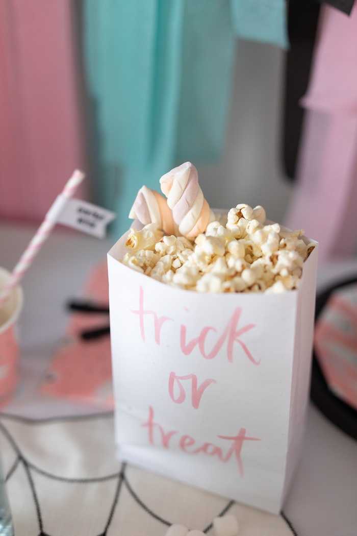 "Trick or Treat Popcorn from a ""Ghouls Night In"" Pink Halloween Party on Kara's Party Ideas 