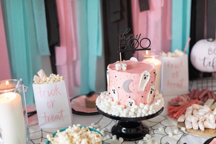 "Girly Ghostly Cake Table from a ""Ghouls Night In"" Pink Halloween Party on Kara's Party Ideas 