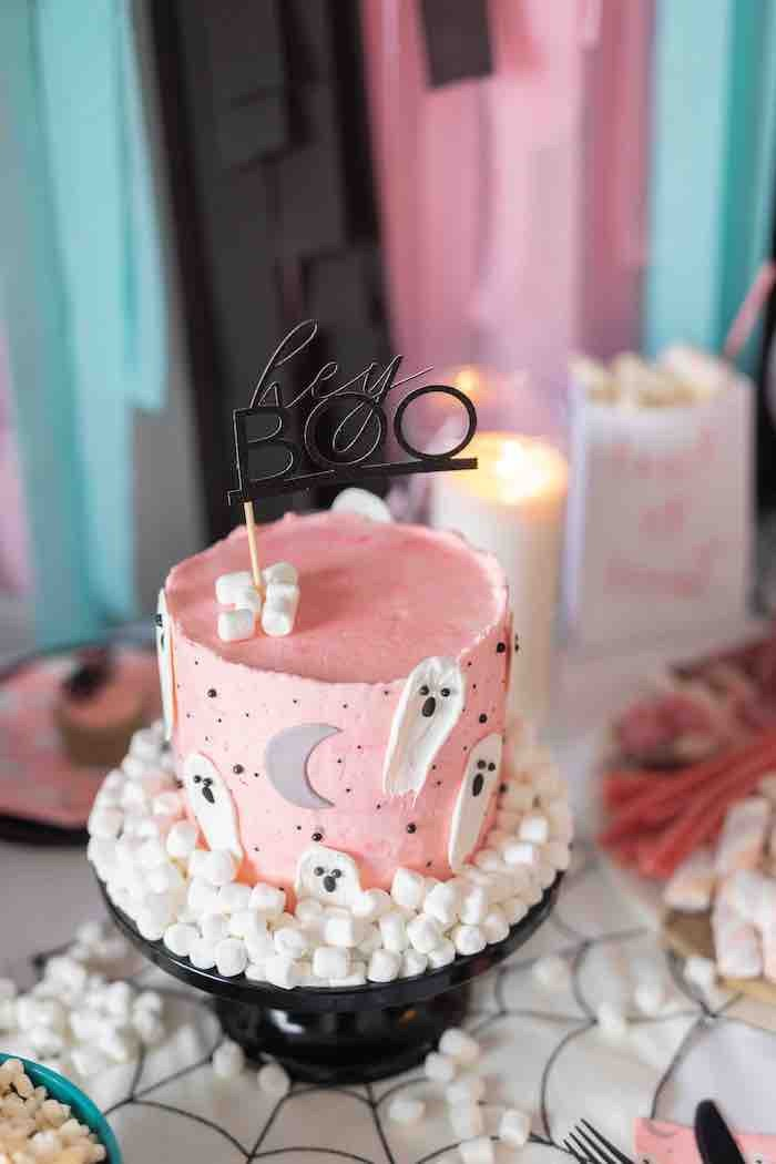 "Girly Ghost Cake from a ""Ghouls Night In"" Pink Halloween Party on Kara's Party Ideas 