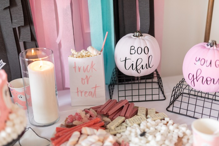"Halloween Party Table Details from a ""Ghouls Night In"" Pink Halloween Party on Kara's Party Ideas 