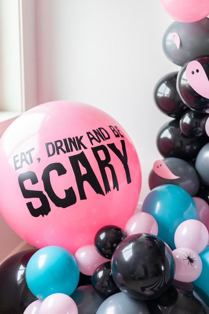 "Girly Halloween Balloon Garland from a ""Ghouls Night In"" Pink Halloween Party on Kara's Party Ideas 