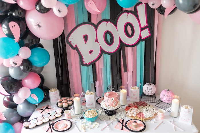 "Girly Ghostly Party Table from a ""Ghouls Night In"" Pink Halloween Party on Kara's Party Ideas 