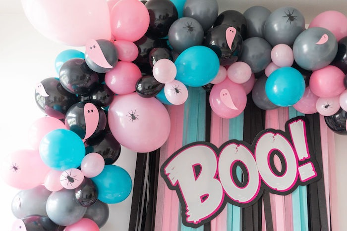 "Girly Halloween Balloon Garland + Boo Backdrop from a ""Ghouls Night In"" Pink Halloween Party on Kara's Party Ideas 