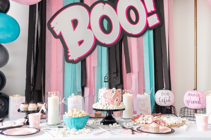"""Ghouls Night In"" Pink Halloween Party on Kara's Party Ideas 