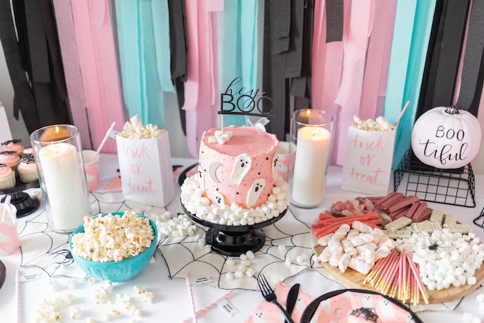 "Girly Ghostly Halloween Party Table from a ""Ghouls Night In"" Pink Halloween Party on Kara's Party Ideas 