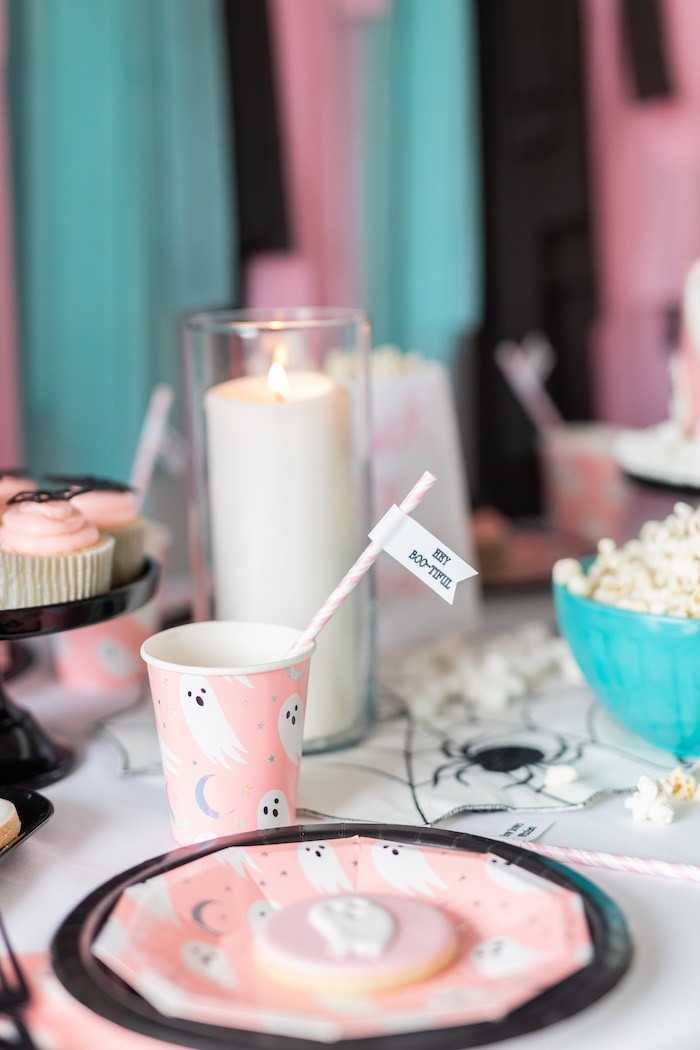 "Pink Ghost Table Setting + Partyware from a ""Ghouls Night In"" Pink Halloween Party on Kara's Party Ideas 
