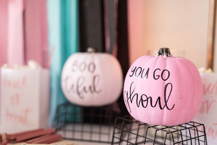 "Lettered ""You Go Ghoul"" Pink Pumpkin from a ""Ghouls Night In"" Pink Halloween Party on Kara's Party Ideas 