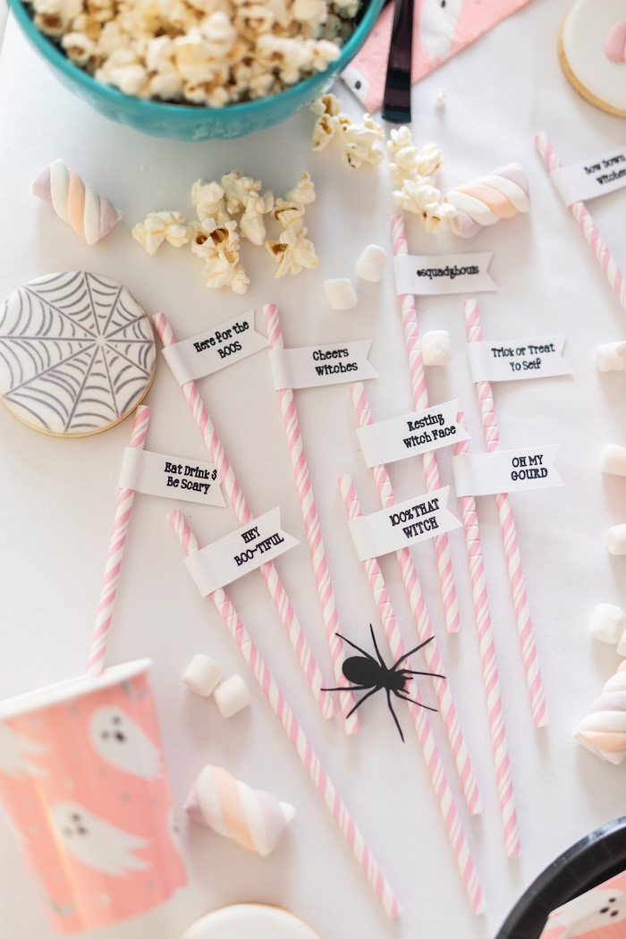 "Halloween Straw Flags from a ""Ghouls Night In"" Pink Halloween Party on Kara's Party Ideas 