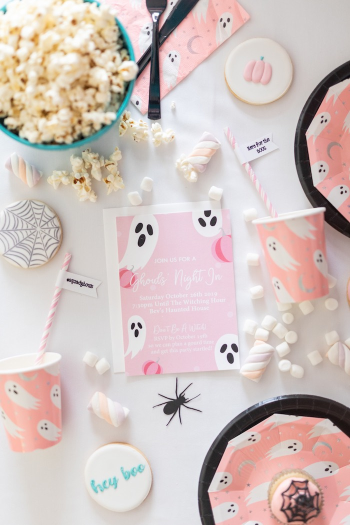 "Girly Ghost Party Invitation from a ""Ghouls Night In"" Pink Halloween Party on Kara's Party Ideas 