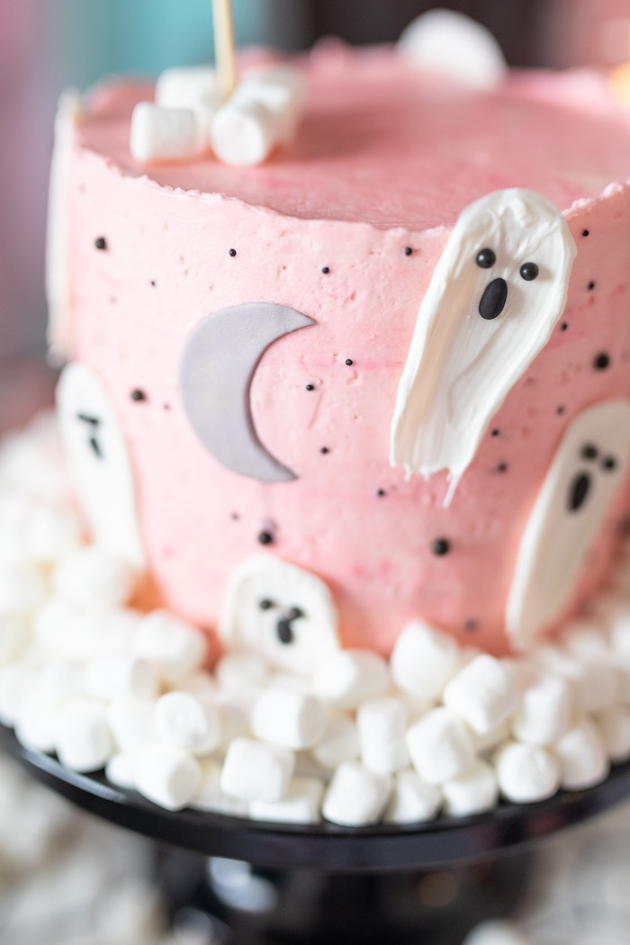 "Pink + White Ghost Cake from a ""Ghouls Night In"" Pink Halloween Party on Kara's Party Ideas 