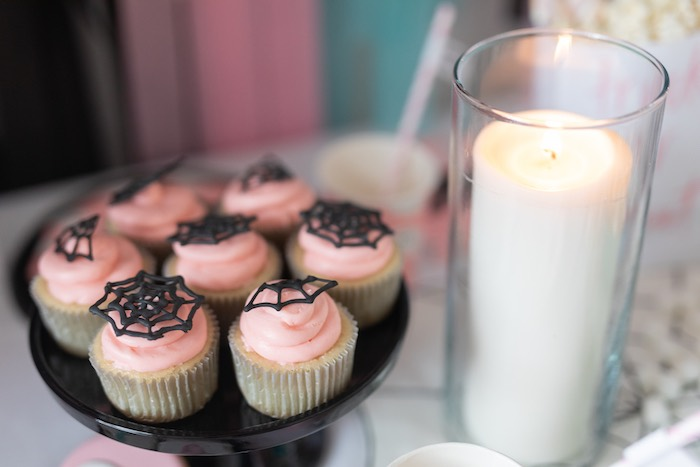 "Pink Spiderweb Cupcakes from a ""Ghouls Night In"" Pink Halloween Party on Kara's Party Ideas 