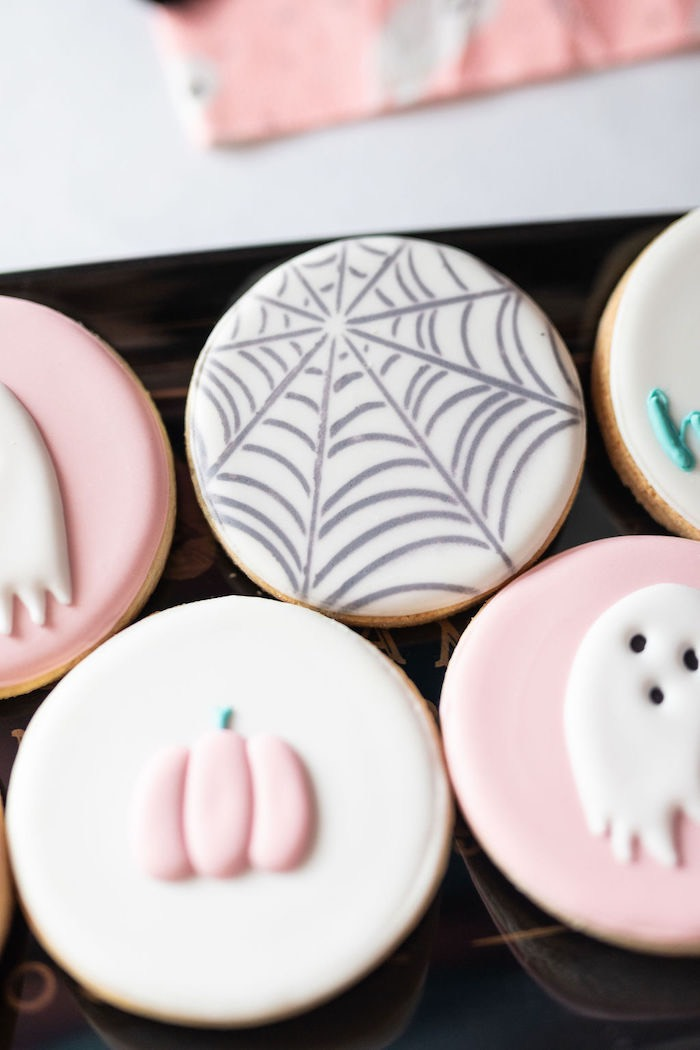 "Halloween Cookies from a ""Ghouls Night In"" Pink Halloween Party on Kara's Party Ideas 