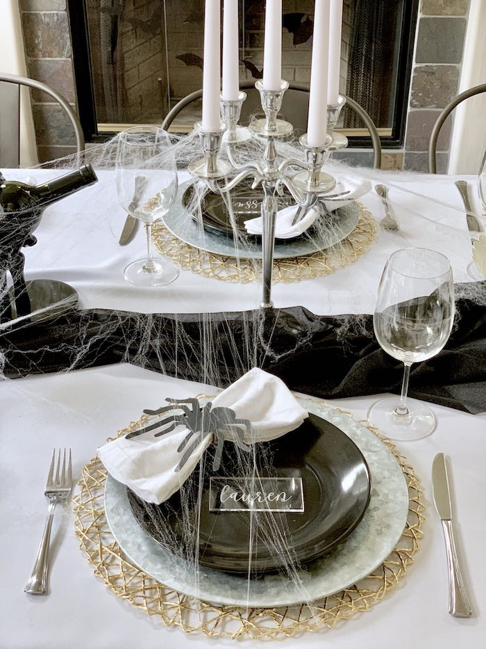 Spider Halloween Table Setting from a Haunted Halloween Dinner Party on Kara's Party Ideas | KarasPartyIdeas.com