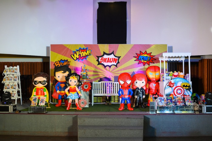 Superhero Party Stage from a DC vs Marvel: Battle of the Universe Superhero Birthday Party on Kara's Party Ideas | KarasPartyIdeas.com (22)