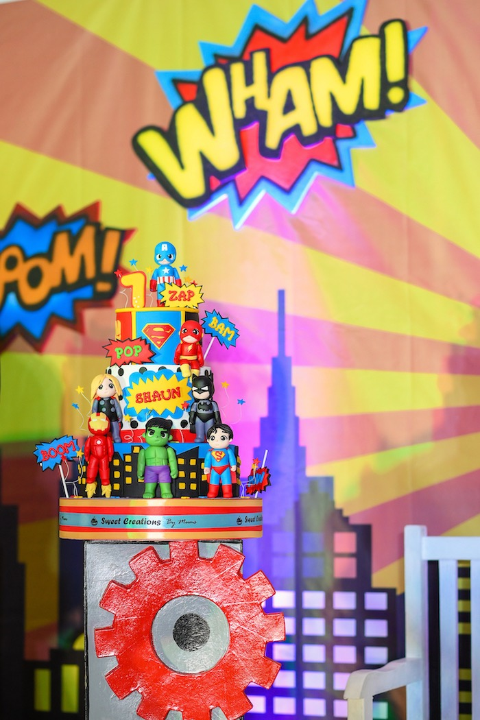 Superhero Cake from a DC vs Marvel: Battle of the Universe Superhero Birthday Party on Kara's Party Ideas   KarasPartyIdeas.com (21)