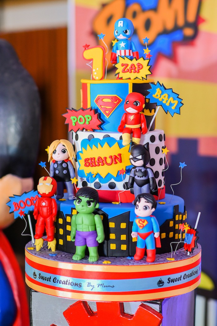 Superhero Cake from a DC vs Marvel: Battle of the Universe Superhero Birthday Party on Kara's Party Ideas | KarasPartyIdeas.com (20)