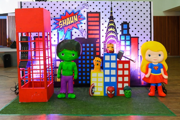 Superhero Stage + Decor from a DC vs Marvel: Battle of the Universe Superhero Birthday Party on Kara's Party Ideas | KarasPartyIdeas.com (18)