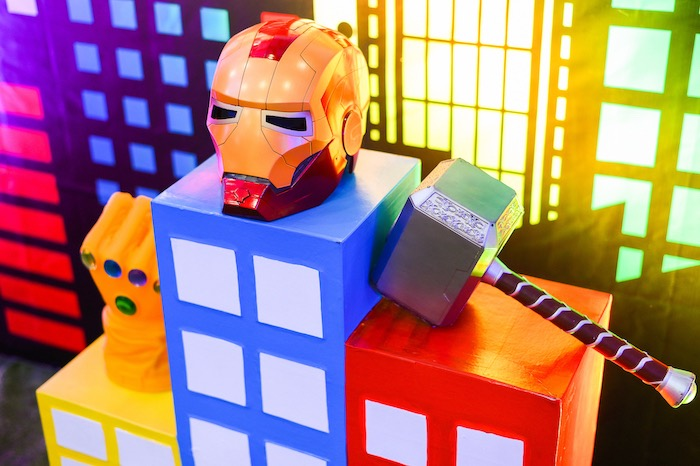 Iron Man Helmet + Thor Hammer Props from a DC vs Marvel: Battle of the Universe Superhero Birthday Party on Kara's Party Ideas | KarasPartyIdeas.com (15)