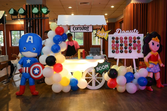Superhero Themed Food Stand from a DC vs Marvel: Battle of the Universe Superhero Birthday Party on Kara's Party Ideas | KarasPartyIdeas.com (14)