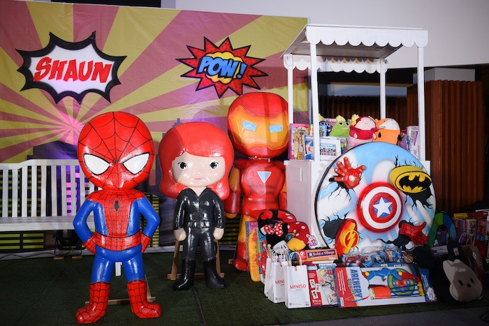 Superhero Favor Table + Stand from a DC vs Marvel: Battle of the Universe Superhero Birthday Party on Kara's Party Ideas | KarasPartyIdeas.com (13)