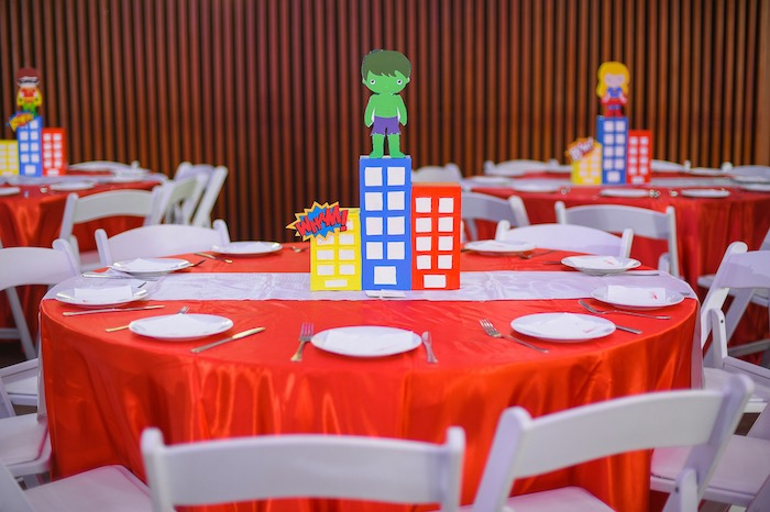 Superhero Party Table from a DC vs Marvel: Battle of the Universe Superhero Birthday Party on Kara's Party Ideas | KarasPartyIdeas.com (12)