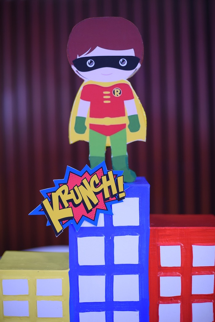 Robin Standee + Skyscraper Prop from a DC vs Marvel: Battle of the Universe Superhero Birthday Party on Kara's Party Ideas | KarasPartyIdeas.com (11)