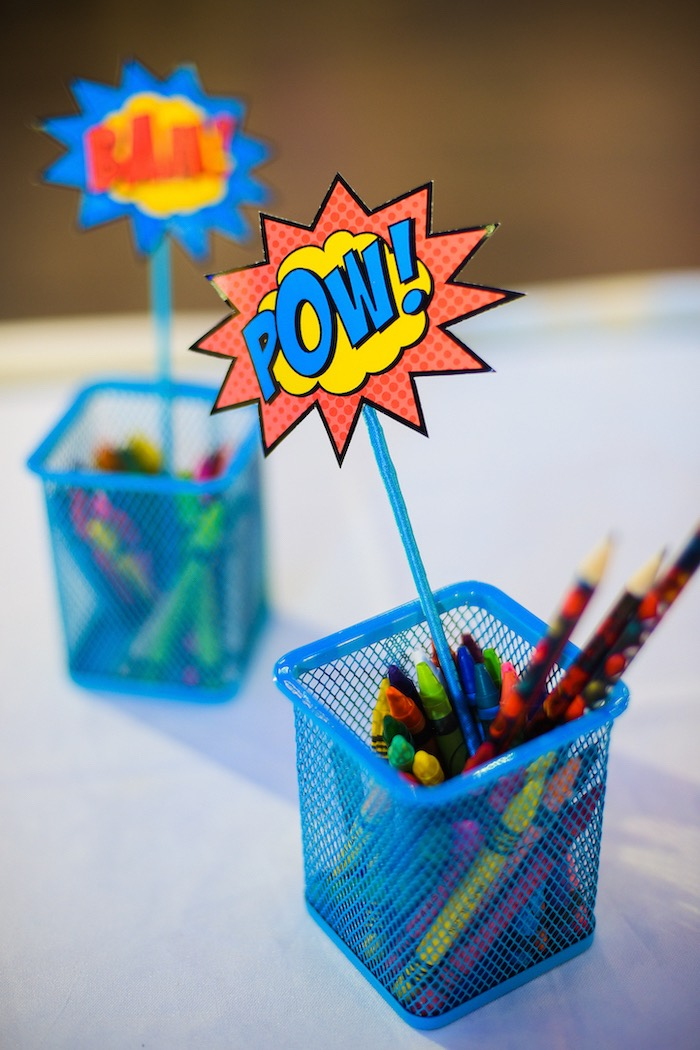 Superhero Coloring Utensil Baskets from a DC vs Marvel: Battle of the Universe Superhero Birthday Party on Kara's Party Ideas | KarasPartyIdeas.com (10)