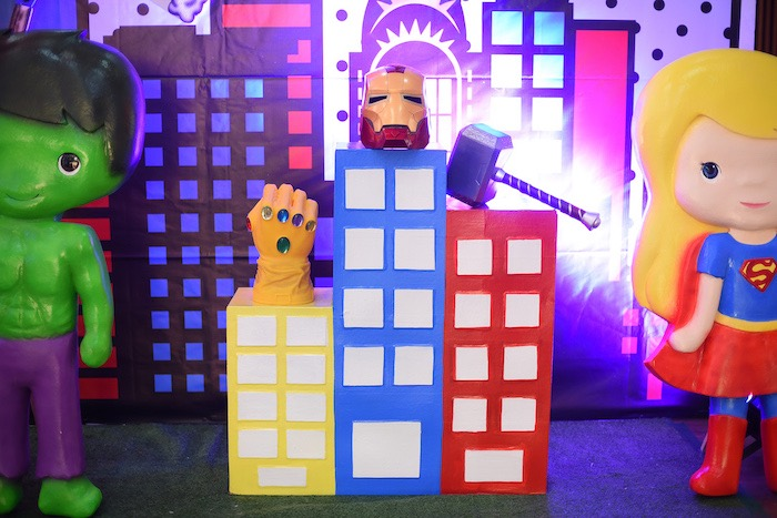 Marvel Props on Skyscraper Pedestals from a DC vs Marvel: Battle of the Universe Superhero Birthday Party on Kara's Party Ideas | KarasPartyIdeas.com (9)