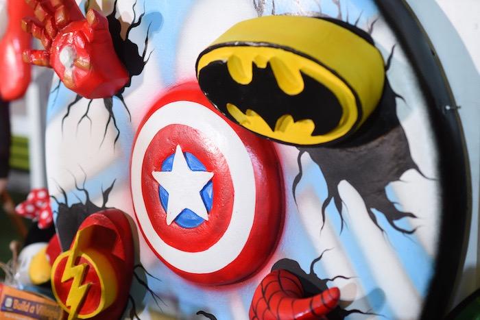 Custom Superhero Backdrop Sign from a DC vs Marvel: Battle of the Universe Superhero Birthday Party on Kara's Party Ideas   KarasPartyIdeas.com (7)