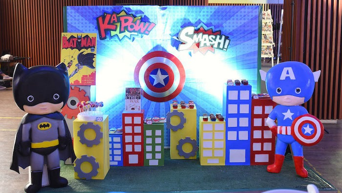 Superhero Themed Dessert Spread from a DC vs Marvel: Battle of the Universe Superhero Birthday Party on Kara's Party Ideas   KarasPartyIdeas.com (6)